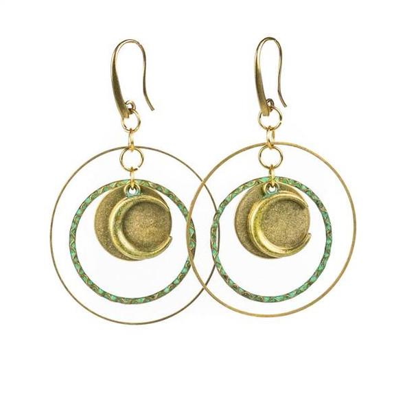 Green Bronze, Moon, and Brass Hoop Earrings - #12
