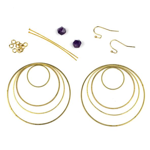 Amethyst Star Cut Earring Kit - #007