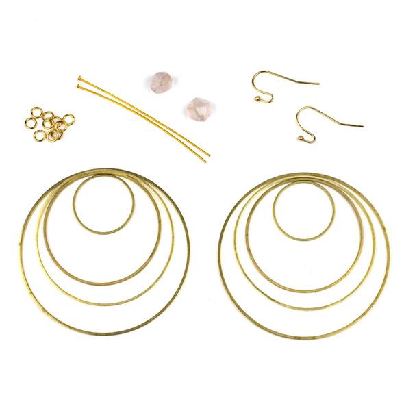 Rose Quartz Star Cut Earring Kit - #007