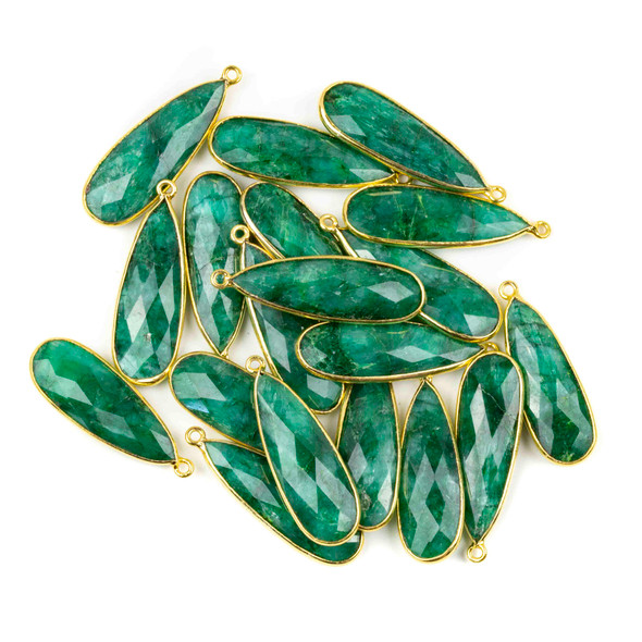 Emerald approximately 11x35mm Long Teardrop Drop with a Gold Plated Brass Bezel