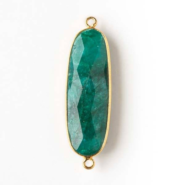 Emerald 11x37mm Oval Link with a Gold Plated Brass Bezel