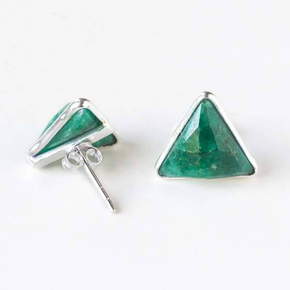 Emerald 12x13mm Triangle Sterling Silver Stud Earrings