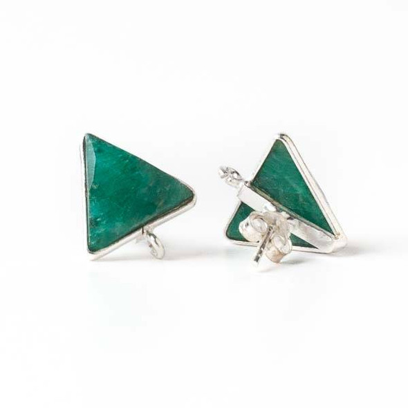 Emerald 13x15mm Triangle Sterling Silver Stud Earrings with Jump Ring Loop