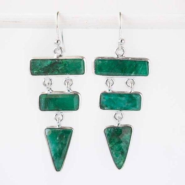Emerald Triangle and Bar Sterling Silver Dangle Earrings