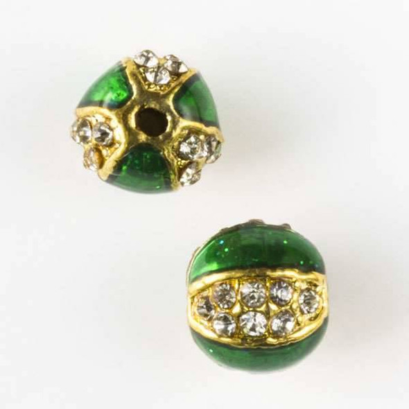 10mm Green and Gold Enamel Pumpkin Pave Bead with Clear Crystals
