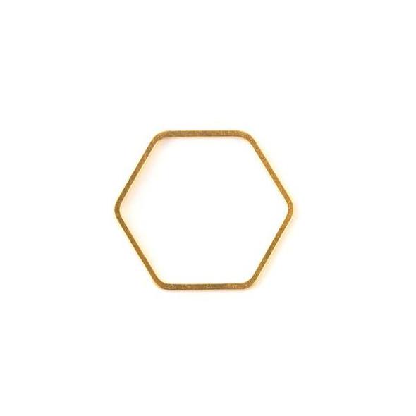 Gold Colored Brass 22x25mm Hexagon Link - 6 per bag - ES7593g