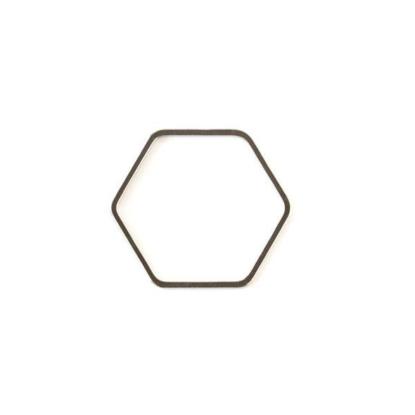 Gun Metal Colored Brass 22x25mm Hexagon Link - 6 per bag - ES7593gm