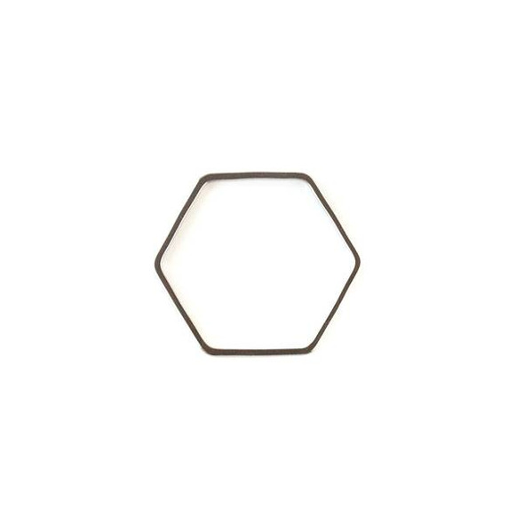 Gun Metal Colored Brass 20x22mm Hexagon Link - 6 per bag - ES7608gm
