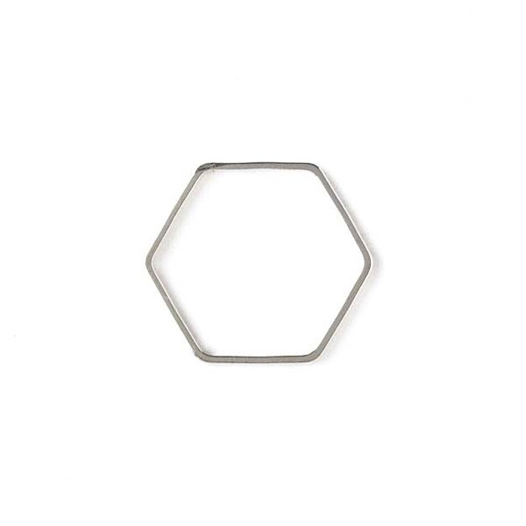Silver Plated Brass 20x22mm Hexagon Link - 6 per bag - ES7608s