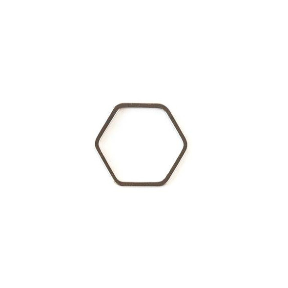 Gun Metal Colored Brass 16x17mm Hexagon Link - 6 per bag - ES7619gm