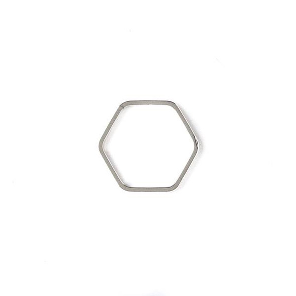 Silver Plated Brass 16x17mm Hexagon Link - 6 per bag - ES7619s