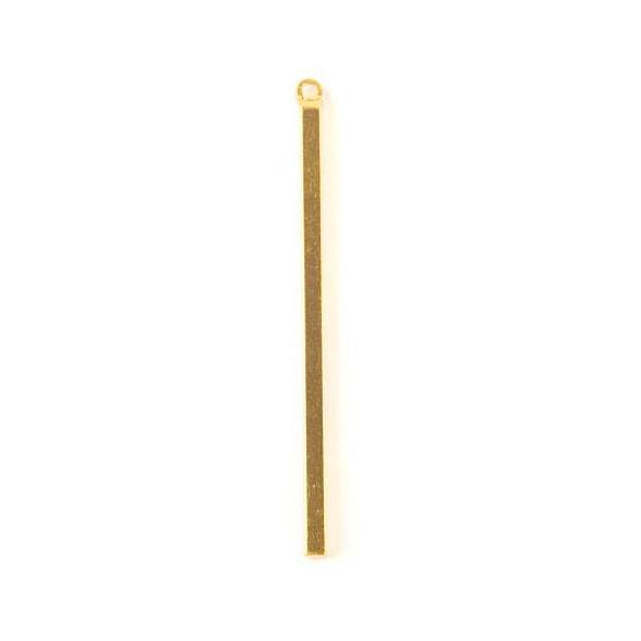 Gold Colored Brass 2x45mm Rectangle Drop - 6 per bag - ES7737g