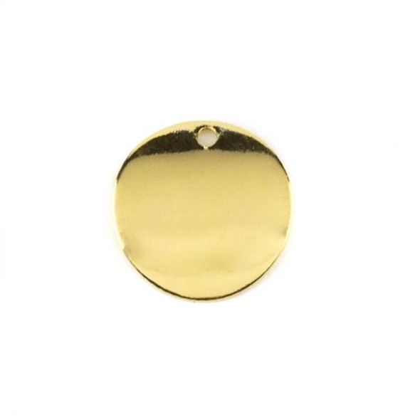 Gold Colored Brass 15mm Curved Coin Drop - 6 per bag - ES7835g