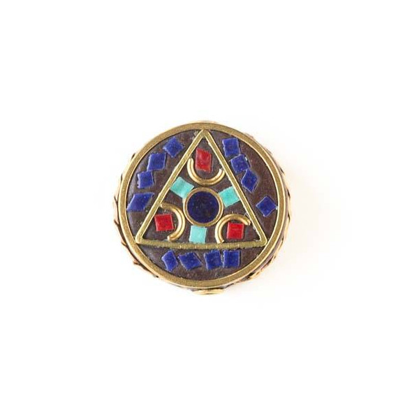Tibetan Brass 21mm Coin Bead with Triangle and Red Coral, Lapis, and Turquoise Howlite Square Inlay - 1 per bag