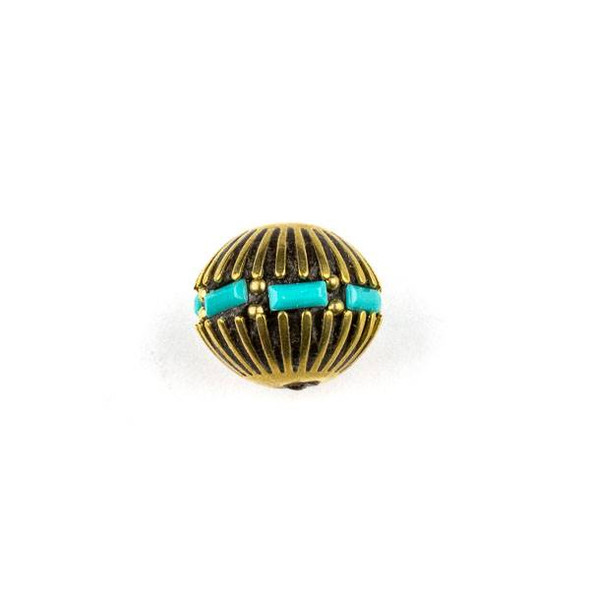 Tibetan Brass 14x15mm Round Bead with Turquoise Howlite Inlay and Lines - 1 per bag
