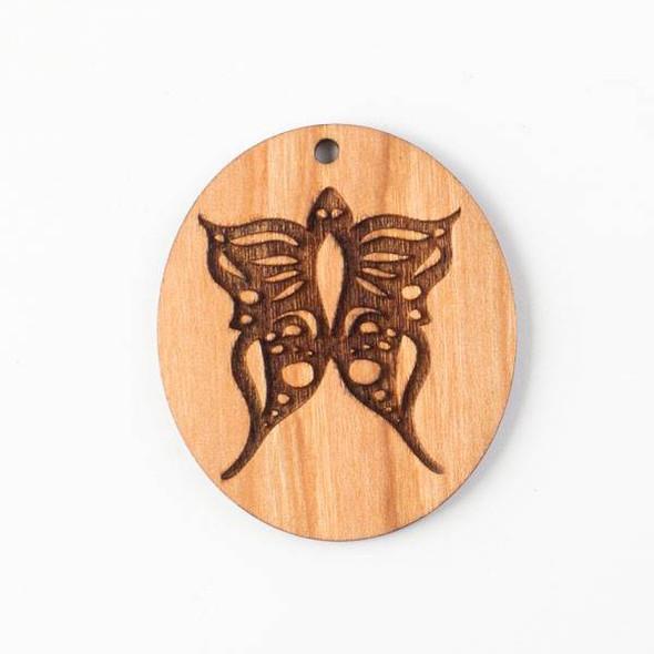 Handmade Wooden 36x44mm Butterfly Oval Pendant