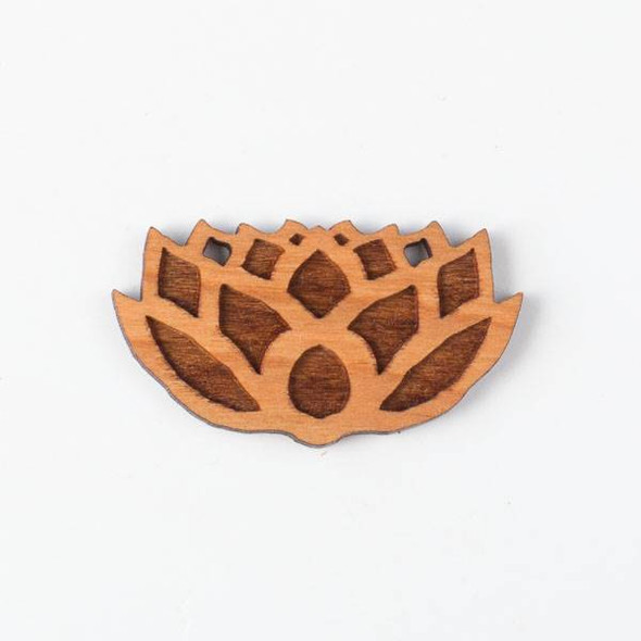 Handmade Wooden 24x43mm Lotus Flower Pendant with 2 holes