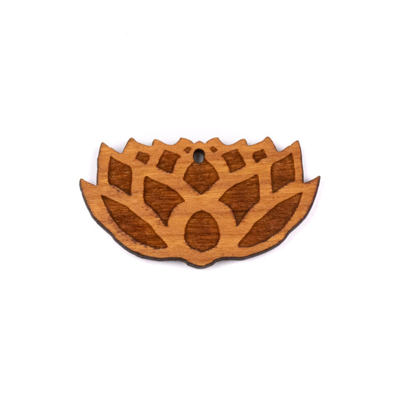 Handmade Wooden 24x43mm Lotus Flower Pendant with 1 hole - 1 per bag