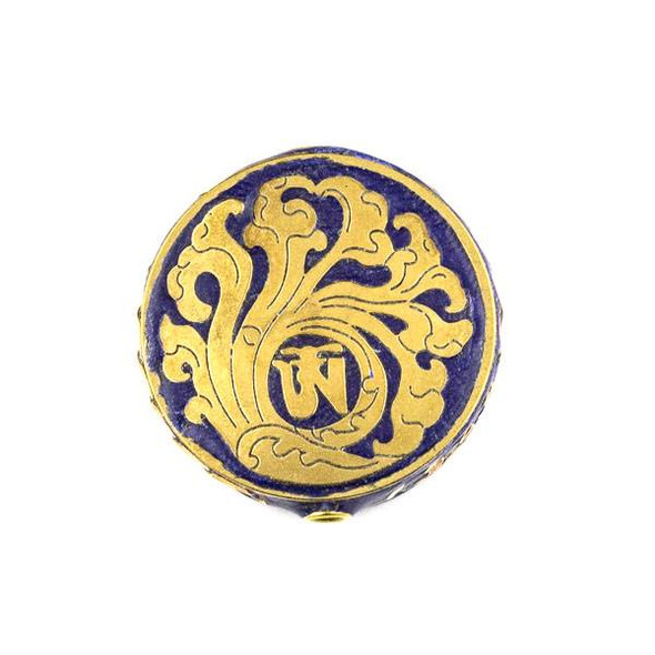 Tibetan Brass 28mm Blue Coin Bead with Wave Inlay - 1 per bag
