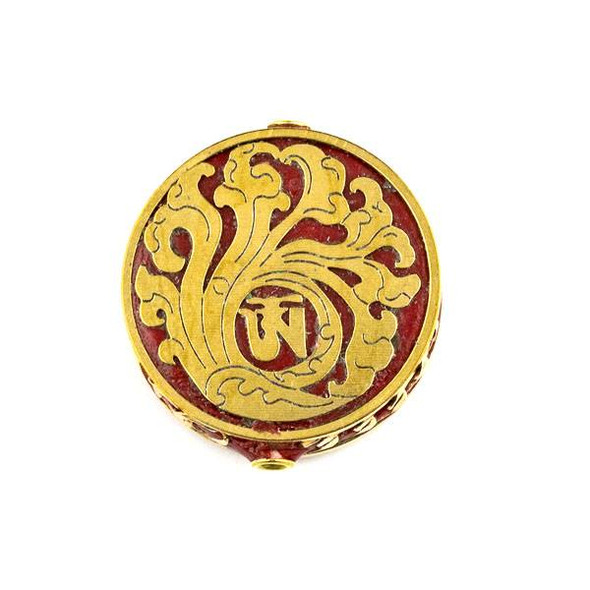 Tibetan Brass 28mm Red Coin Bead with Wave Inlay - 1 per bag