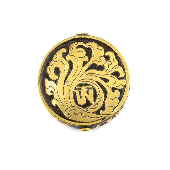 Tibetan Brass 28mm Brown Coin Bead with Wave Inlay - 1 per bag