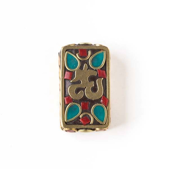 Tibetan Brass 14x24mm Rectangle Bead with Sign, Red Coral Square, and Turquoise Howlite Teardrop Inlay