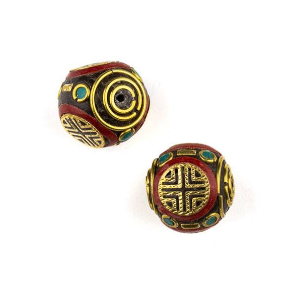 Tibetan Brass 19mm Round Bead with Red Coral and Turquoise Howlite Inlay and X Pattern - 1 per bag