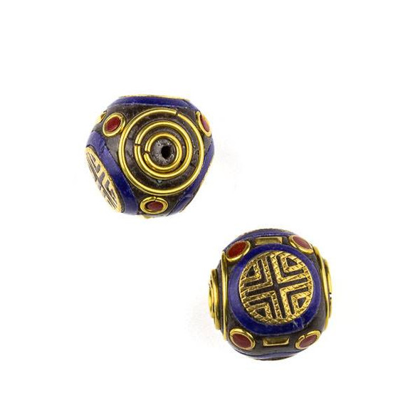 Tibetan Brass 19mm Round Bead with Lapis and Turquoise Howlite Inlay and X Pattern - 1 per bag