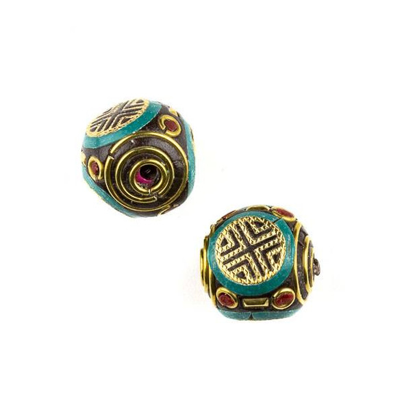 Tibetan Brass 19mm Round Bead with Turquoise Howlite and Red Coral Inlay and X Pattern - 1 per bag