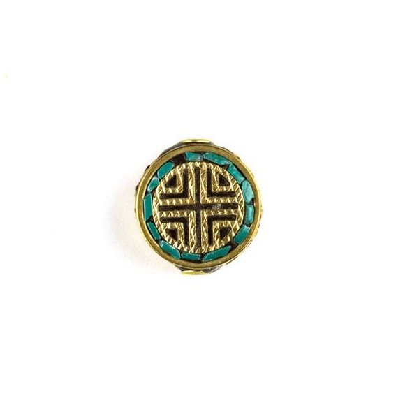 Tibetan Brass 15mm Coin Bead with Turquoise Howlite Inlay and X Pattern - 1 per bag