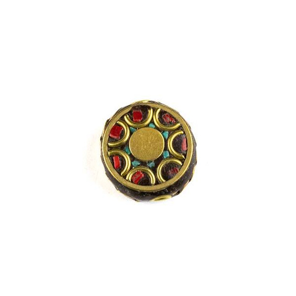 Tibetan Brass 15mm Coin Bead with Red Coral and Turquoise Howlite Inlay and Half Circles - 1 per bag