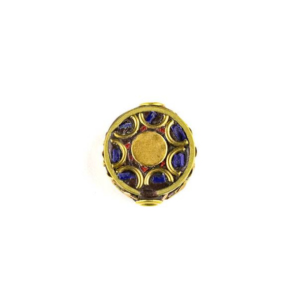 Tibetan Brass 15mm Coin Bead with Red Coral and Lapis Inlay and Half Circles - 1 per bag