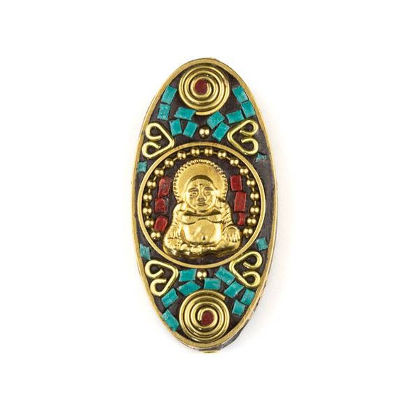 Tibetan Brass 27x55mm Oval Focal Bead with Happy Buddha, Swirls, and Hearts Inlay - 1 per bag