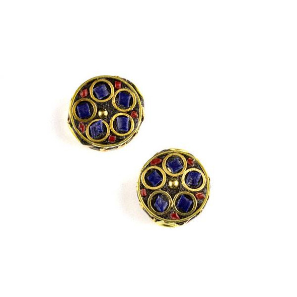 Tibetan Brass 13mm Coin Bead with Lapis and Red Coral Inlay and Circles - 2 per bag