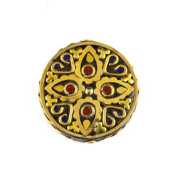 Tibetan Brass 28mm Coin Bead with Lapis and Red Coral Inlay with Teardrops, Circles, Clovers, and Hearts - 1 per bag