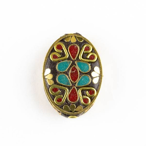 Tibetan Brass 21x30mm Oval Bead with Turquoise Howlite and Red Coral Teardrop Inlay and Hearts - 1 per bag