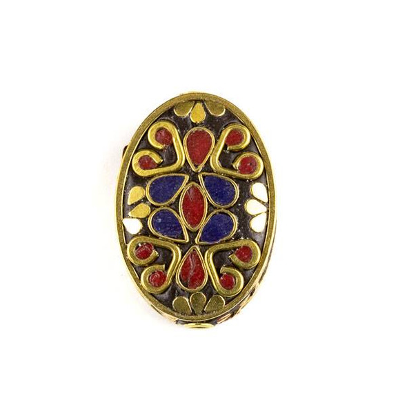 Tibetan Brass 21x30mm Oval Bead with Lapis and Red Coral Teardrop Inlay and Hearts - 1 per bag