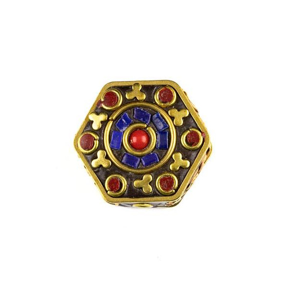 Tibetan Brass 23mm Hexagon Bead with Lapis and Red Coral Inlay and Clovers - 1 per bag