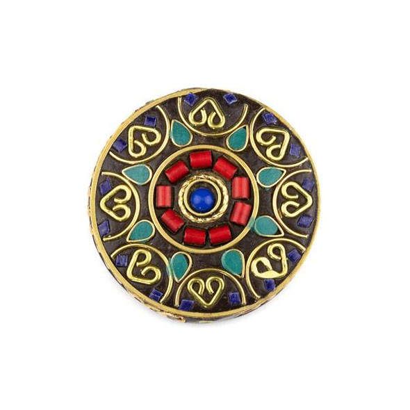 Tibetan Brass 44mm Coin Focal Bead with Lapis Round, Turquoise Howlite, and Red Coral Inlay and Brass Hearts - 1 per bag