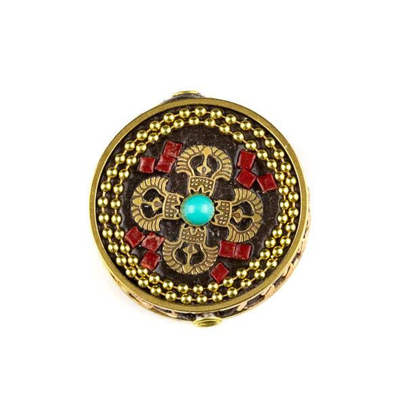 Tibetan Brass 28mm Coin Bead with Turquoise Howlite and Red Coral Inlay and Tibetan Symbol - 1 per bag