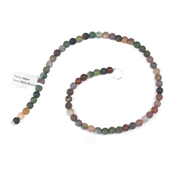 Matte Fancy Jasper 6mm Round Beads - 15 inch strand