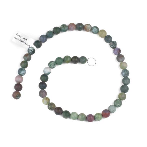 Matte Fancy Jasper 8mm Round Beads - 15 inch strand