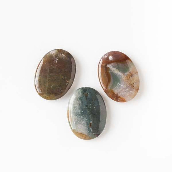 Fancy Jasper 22x30mm Puff Oval Pendant - 1 per bag