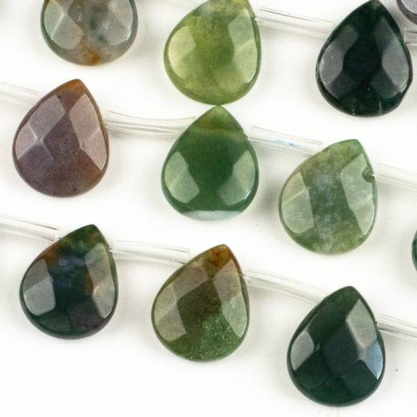 Fancy Jasper 12x15mm Faceted Top Drilled Teardrop Beads - approx. 8 inch strand, Set B