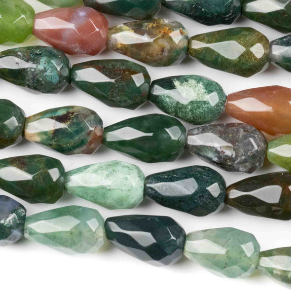 Fancy Jasper 8x12mm Faceted Rounded Teardrop Beads - approx. 8 inch strand, Set B