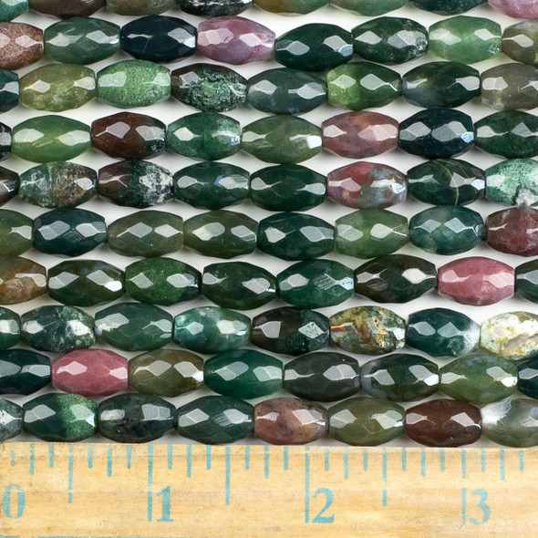 Fancy Jasper 8x12mm Faceted Rice Beads - approx. 8 inch strand, Set B