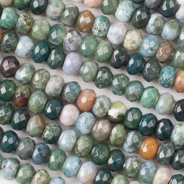 Fancy Jasper 5x8mm Faceted Rondelle Beads - approx. 8 inch strand, Set B