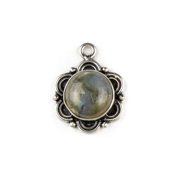 Silver Plated Brass Fancy Bezel Pendant - Labradorite 18x23mm Coin Drop, style #02