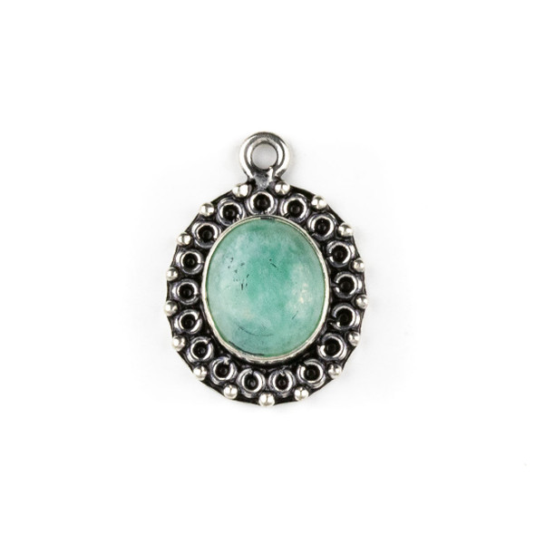 Silver Plated Brass Fancy Bezel Pendant - Amazonite 17x24mm Oval Drop, style #03