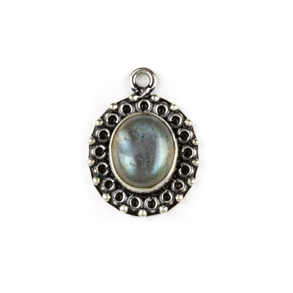 Silver Plated Brass Fancy Bezel Pendant - Labradorite 17x24mm Oval Drop, style #03